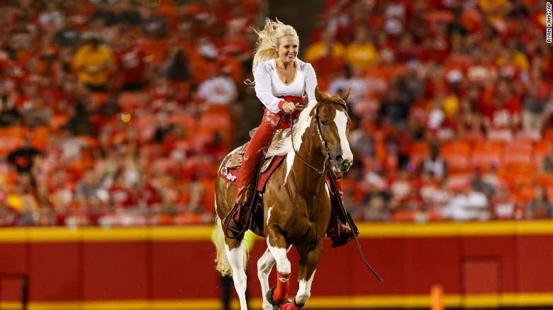 Kansas City Chiefs mascot Warpaint takes a victory lap across the field after the team scored a touchdown during an NFL preseason football game against the Cincinnati Bengals on Saturday, Aug. 10, 2019, in Kansas City, Mo.