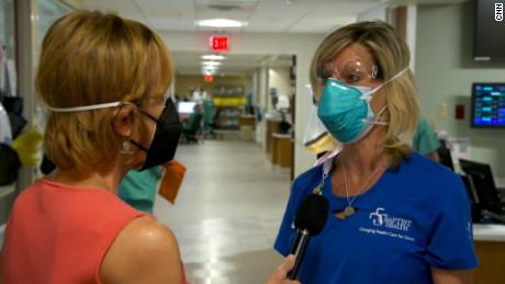 Chief Nursing Officer Tammy Daniel speaks with CNN at Jacksonville's Baptist Medical Center in Florida.