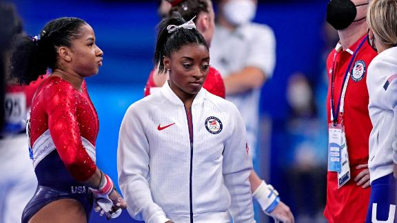 Jul 27, 2021; Tokyo, Japan; Simone Biles (USA) wears her warm up gear after competing on the vault during the Tokyo 2020 Olympic Summer Games at Ariake Gymnastics Centre. Mandatory Credit: Danielle Parhizkaran-USA TODAY Sports
