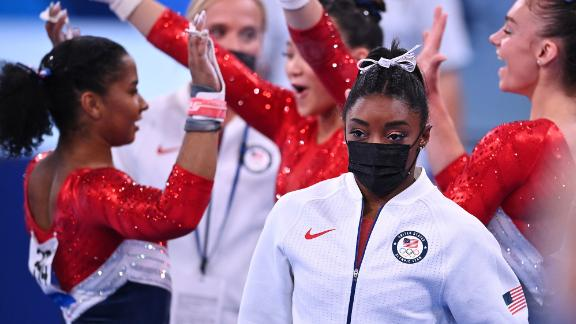 Biles wears her warm-up gear after she was pulled from the team all-around competition at the Tokyo Olympics. She