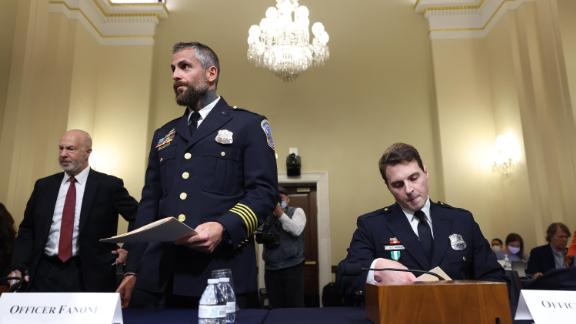 DC Metropolitan Police Department Officers Michael Fanone (at left) and Daniel Hodges (at right) arrive to testify before the committee hearing.