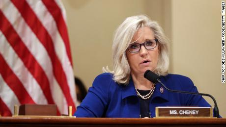 Rep. Liz Cheney speks at a hearing investigating the January 6 attack on the US Capitol, in the Cannon House Office Building in July.