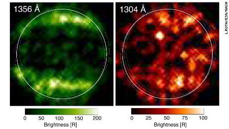1998年にハッブル宇宙望遠鏡は、ガニメデの最初の紫外線画像を撮りました。