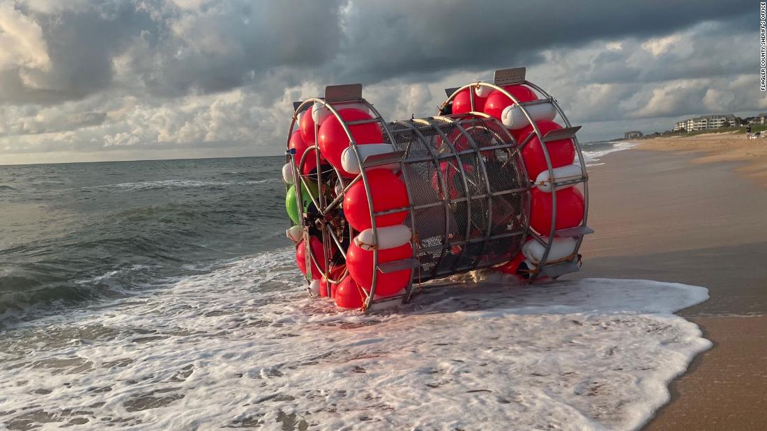 Adventurer's plan to walk on water to New York in a floating bubble ends on a Florida beach