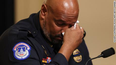 US Capitol Police officer Harry Dunn becomes emotional as he testifies during the Select Committee investigation of the January 6, 2021 attack on the US Capitol.