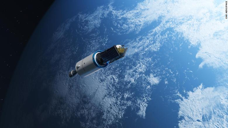 """An impression of Isar Aerospace's first generation """"Spectrum"""" rocket traveling into the Earth's orbit."""