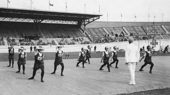 The British women's gymnastics team during the 1928 Olympics in Amsterdam, the first year female gymnasts competed in the Games.