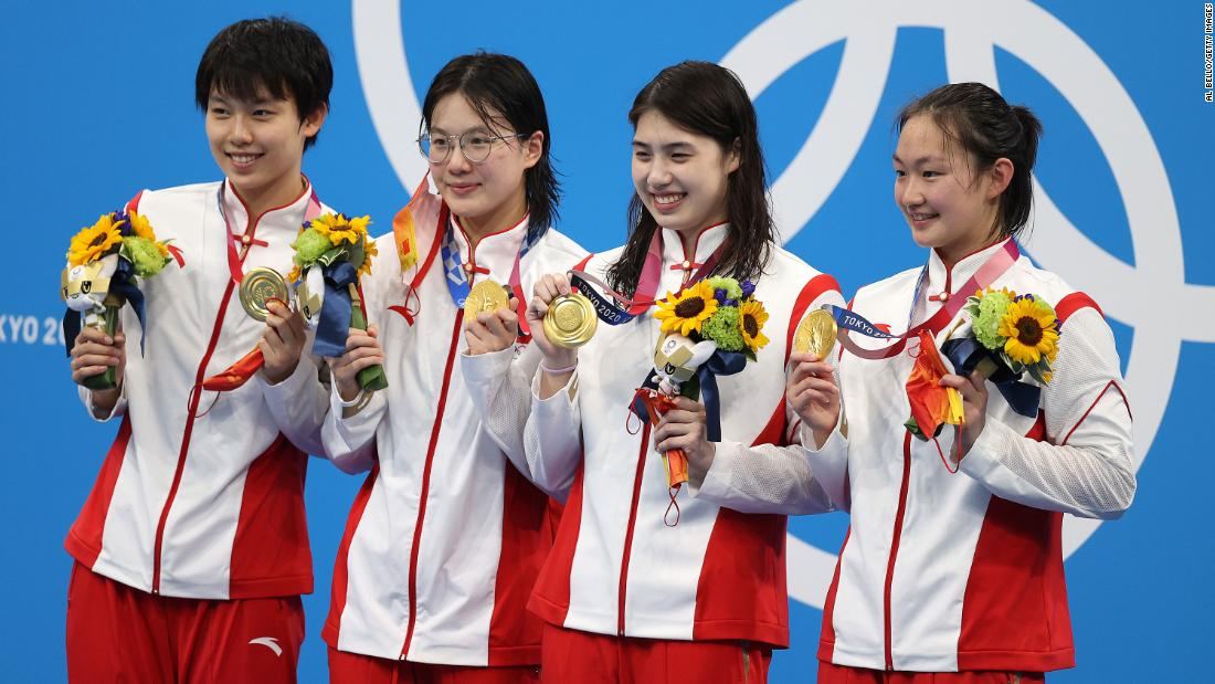 Women's teams from China, USA and Australia, who won gold, silver and bronze, respectively, all swam faster than the previous world record