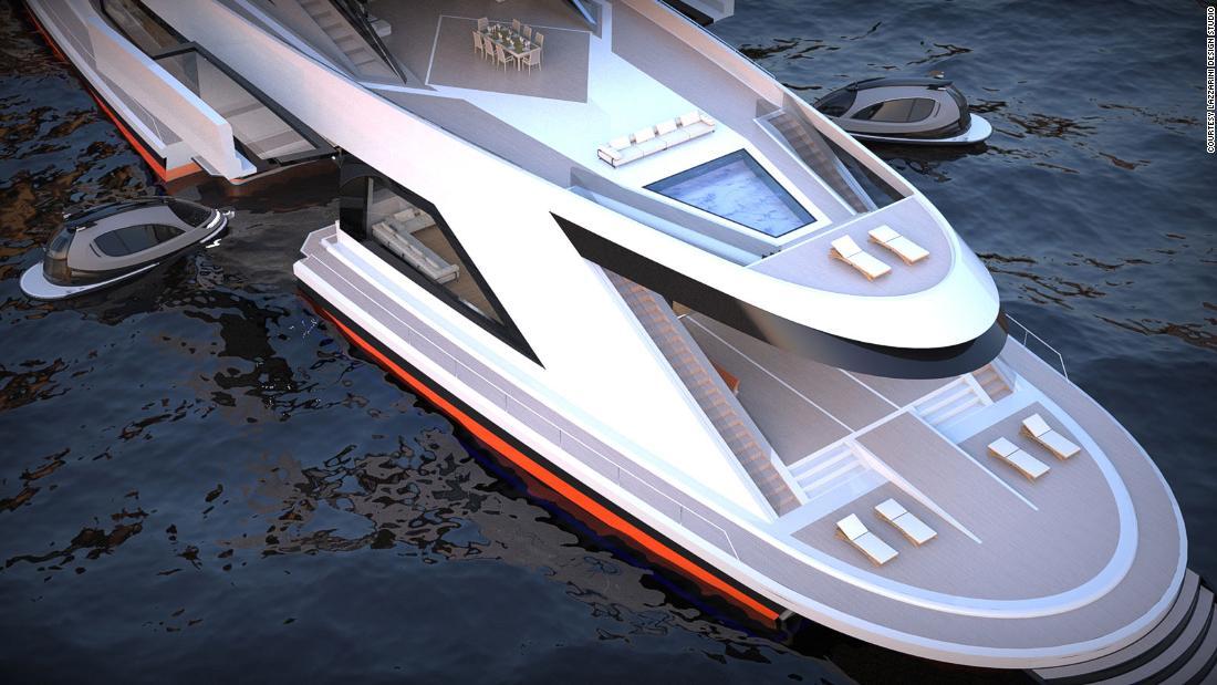 The $350 million carbon fiber superyacht concept with its own port