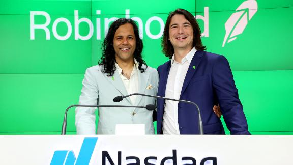 Baiju Bhatt and Vlad Tenev attend Robinhood Markets IPO Listing Day on July 29, 2021 in New York City.