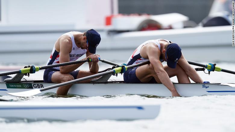 Great Britain's Graeme Thomas and John Collins react to finishing fourth in the Men's Double Sculls during the Rowing at the Sea Forest Waterway on the fifth day of the Tokyo 2020 Olympic Games in Japan. Picture date: Wednesday July 28, 2021. (Photo by Mike Egerton/PA Images via Getty Images)