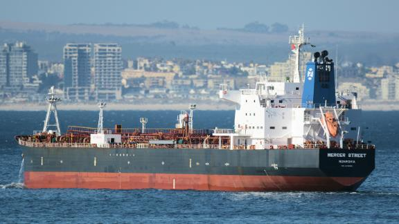 The Liberian-flagged oil tanker Mercer Street off Cape Town, South Africa in 2016.