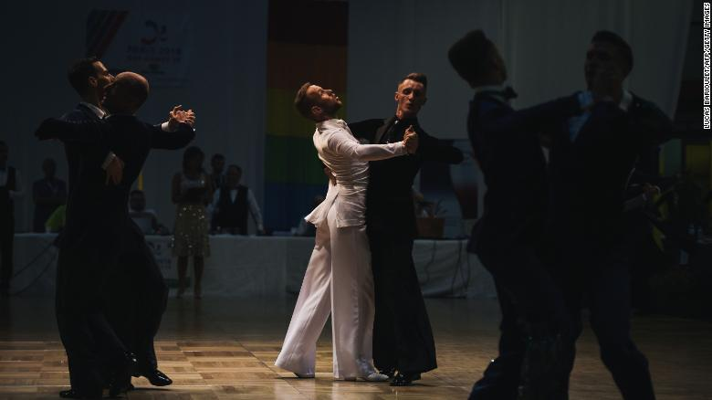 Participants compete in the dancing event of the 2018 Gay Games in Paris.