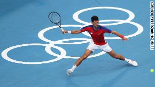 Novak Djokovic plays a forehand at  Tokyo 2020 in Friday's semifinal.