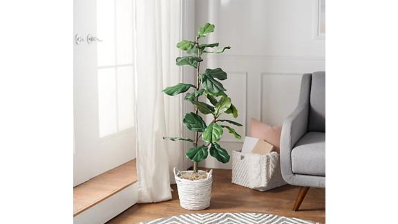 4-Foot Faux Fiddle Leaf Tree in Starter Pot by Valerie