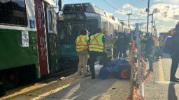 A number of folks injured after Boston transit trains collide
