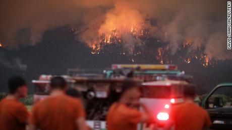 The Dixie Fire burns near Taylorsville, California, on July 29, 2021.