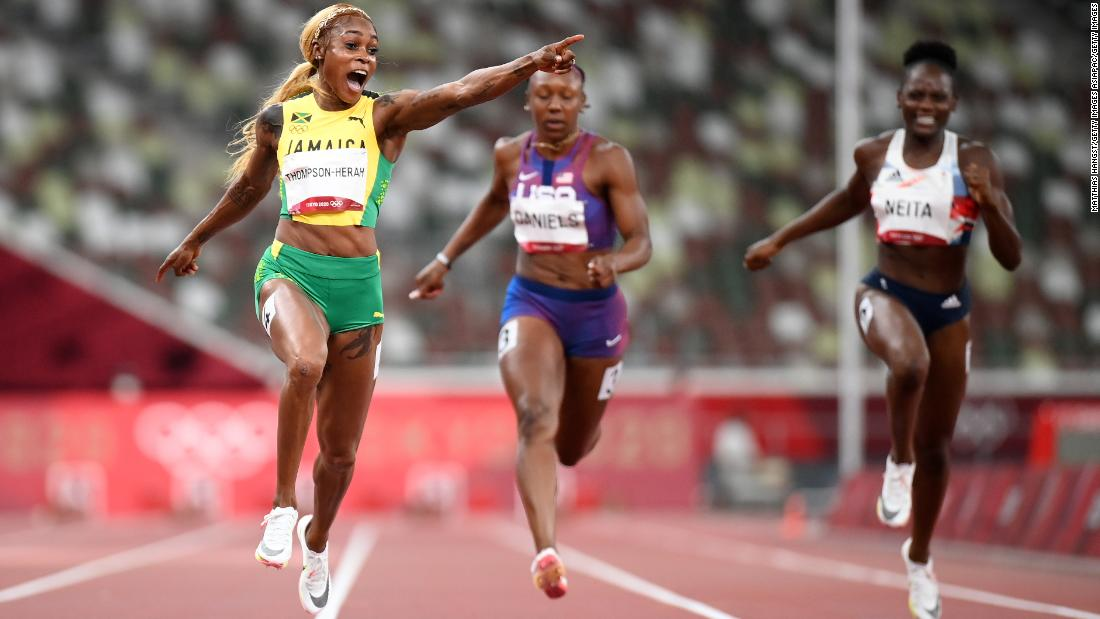 Elaine Thompson-Herah defends Olympic 100m title in all-Jamaican podium