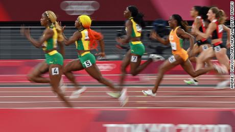 Thompson-Herah, Fraser-Pryce, and Jackson race clear of the field in the women's 100m final.