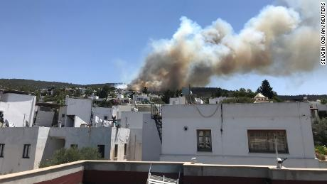 Plumes of smoke from a forest fire are seen near a residential area in the resort town of Bodrum on Saturday, July 31.