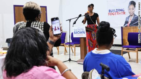 Cuyahoga County Council Representative and Ohio 11th District congressional candidate Shontel Brown speaks during Get Out the Vote campaign event at Mt. Zion Fellowship on July 31, 2021 in Cleveland, Ohio.