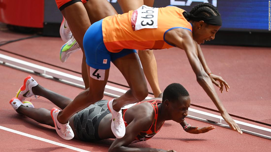 Sifan Hassan fell during her 1,500 meter heat — and still managed to finished first