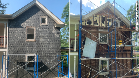 The farmhouse is seen before the bee removal, left, and during the process, right.