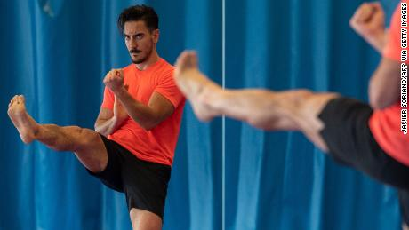 Spanish athlete Damian Quintero, a world champion in Karate Kata, trains in Madrid on June 3, 2020.