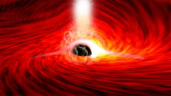 X-ray flares have been seen from the far side of a black hole for the first time, as depicted in this rendering.