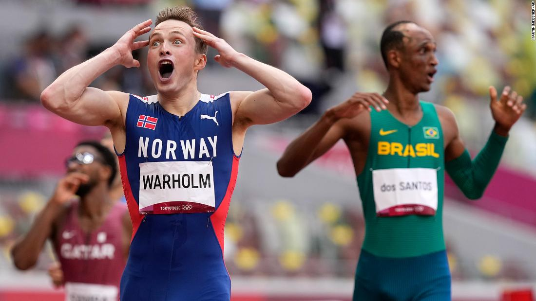 Norway's Warholm smashes world record to win the men's 400 meters hurdles