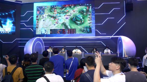 A photo taken on July 9, 2021 shows Tencent's game Honor of Kings at the Electronic Sports Human PK AI competition held at the World Artificial Intelligence Conference 2021 in Shanghai, China.