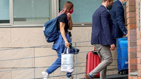 Belarusian sprinter Krystsina Tsimanouskaya enters the Polish embassy in Tokyo, Japan, on August 2.