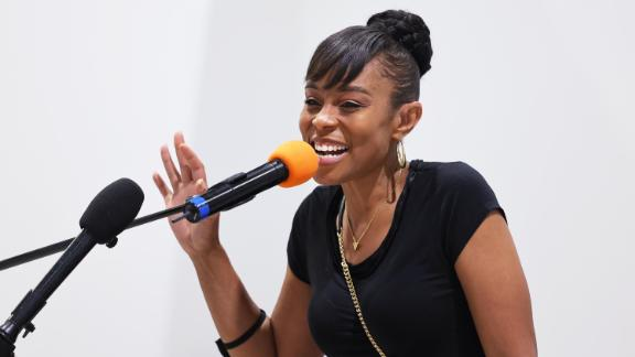 Cuyahoga Councilwoman and Congressional Candidate Shontel Brown speaks during Get Out the Vote campaign event at Mt Zion Fellowship on July 31, 2021 in Cleveland, Ohio.