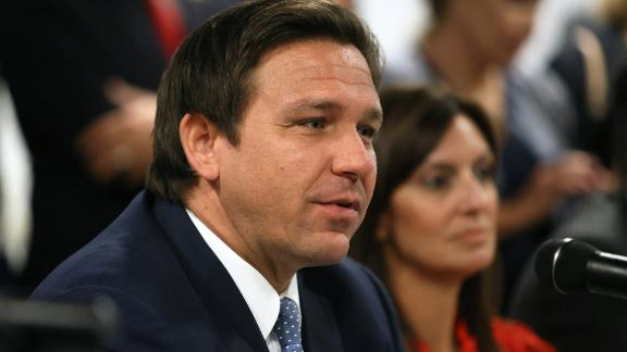 MIAMI, FLORIDA - JULY 13: Florida Gov. Ron DeSantis takes part in a roundtable discussion about the uprising in Cuba at the American Museum of the Cuba Diaspora on July 13, 2021 in Miami, Florida. Thousands of people took to the streets in Cuba on Sunday to protest against the government. (Photo by Joe Raedle/Getty Images)