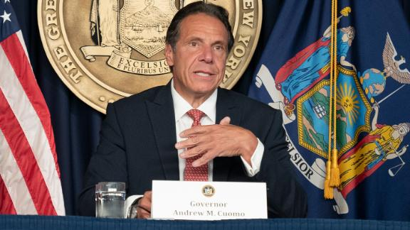 Governor Andrew Cuomo holds press briefing and makes announcement to combat COVID-19 Delta variant at 633 3rd Avenue in New York on August 2, 2021. (Photo by Lev Radin/Sipa USA)(Sipa via AP Images)