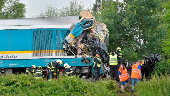 The trains collided near the village of Milavce, around 85 miles southwest of the Czech capital Prague.