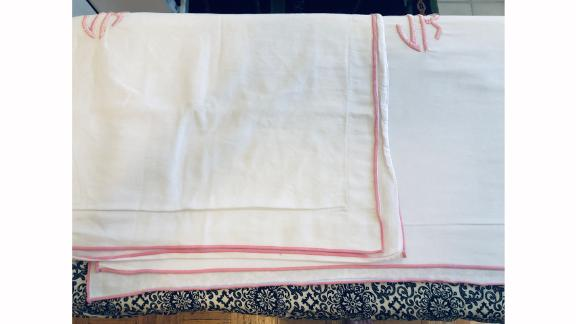 The tester's pillowcases (L) after 3 minutes of pressing on Nori's 'cotton' setting and (R) after 1 minute 30 seconds of steaming/pressing with the Dash