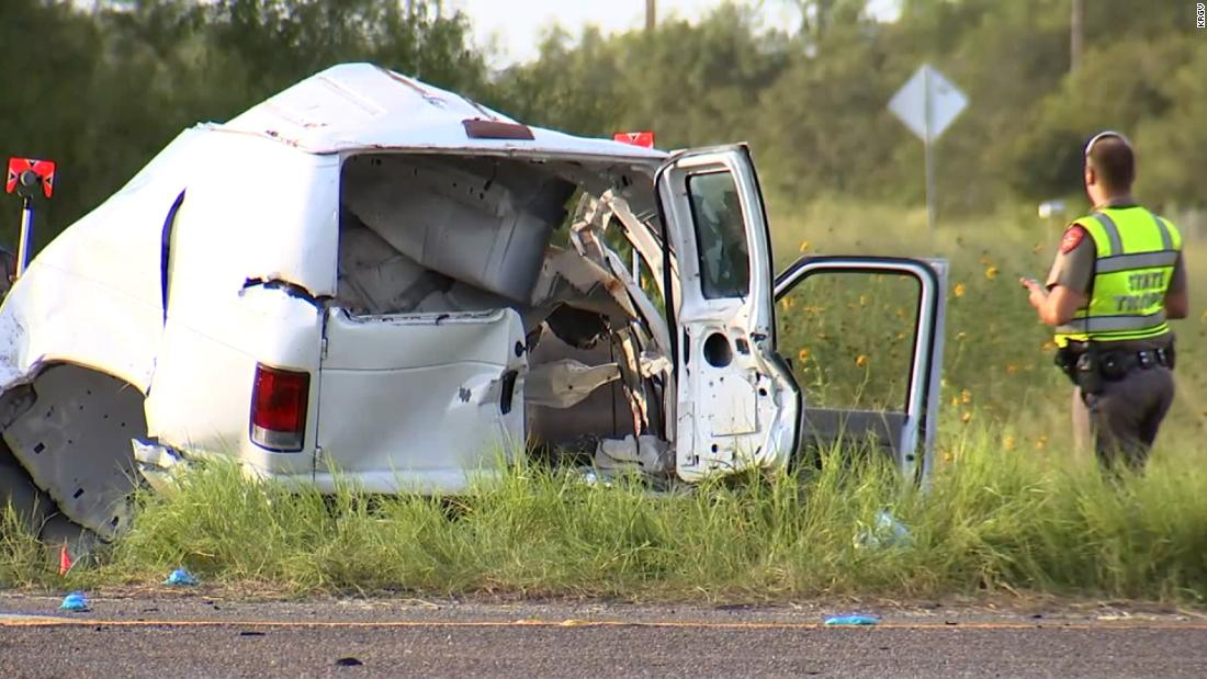 Ten people were killed and 20 were injured after a van crash near Encino, Texas