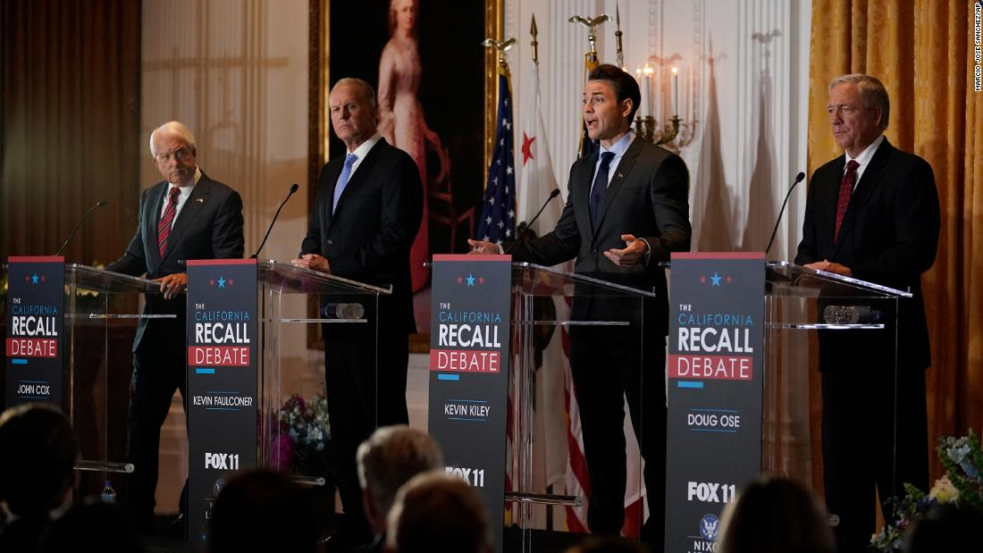 Republicans vying to replace Newsom in California recall attack his handling of Covid-19 in debate