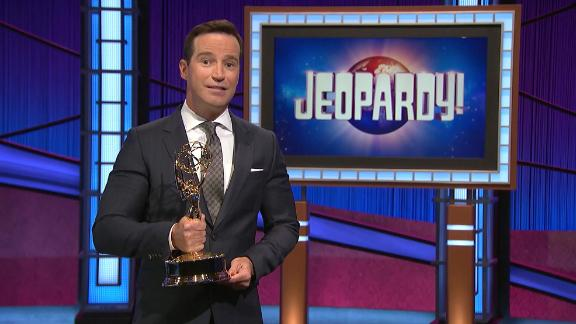 Mike Richards accepts the award for Outstanding Game Show for Jeopardy! during the 48th Annual Daytime Emmy Awards broadcast on June 25, 2021.