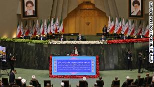 Ebrahim Raisi at his swearing-in ceremony at the Iranian parliament in Tehran on August 5.