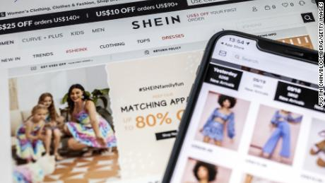 Shein's app and website seen in Hong Kong.