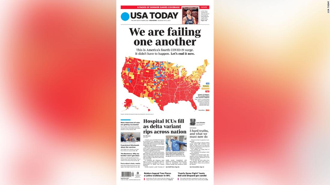 'We are failing one another:' USA Today front page implores people to pay attention to Covid surge