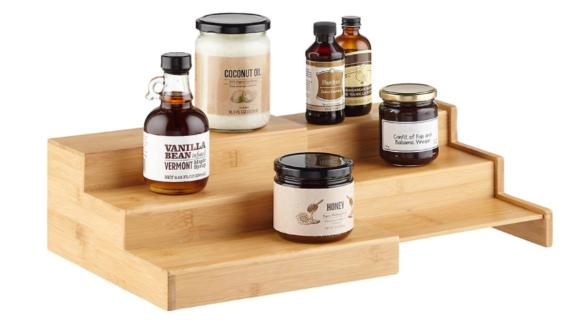 The Container Store Large 3-Tier Bamboo Expanding Shelf