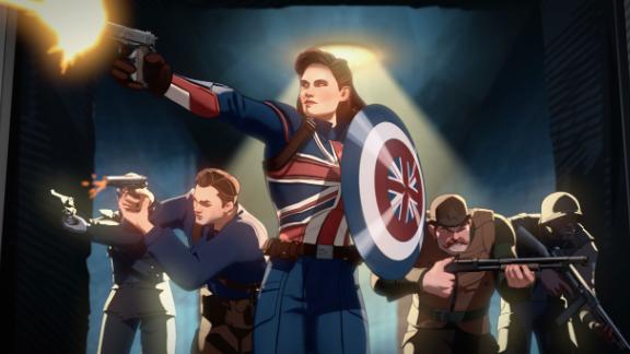 Le capitaine Carter (au centre), exprimé par Hayley Atwell, et les Commandos hurlants de la série Disney + de Marvel Studios «Et si...?»