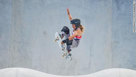 Great Britain's Sky Brown competes in the park skateboarding competition at the Tokyo Olympics, where she won bronze.
