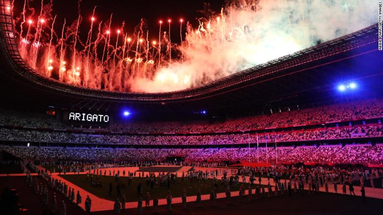 Fireworks are lit to end the Tokyo 2020 Olympic Games on August 8.