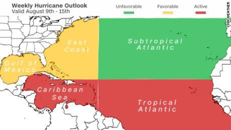 La actividad tropical se observa principalmente en las regiones del Atlántico y el Caribe en este momento.