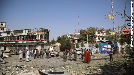 The scene of a car bomb in Kabul, the capital of Afghanistan, on August 4.