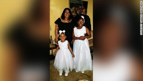 Shanta Matthews with her fiancé and daughters in May 2020.